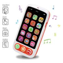 MARUMINE Baby Toy Cell Phone with Light Music Touch Screen, Role Play Kids Play Phone Toddler Music Toys Early Educational Learning Toys for 1 Year Old Girl Boy Gifts
