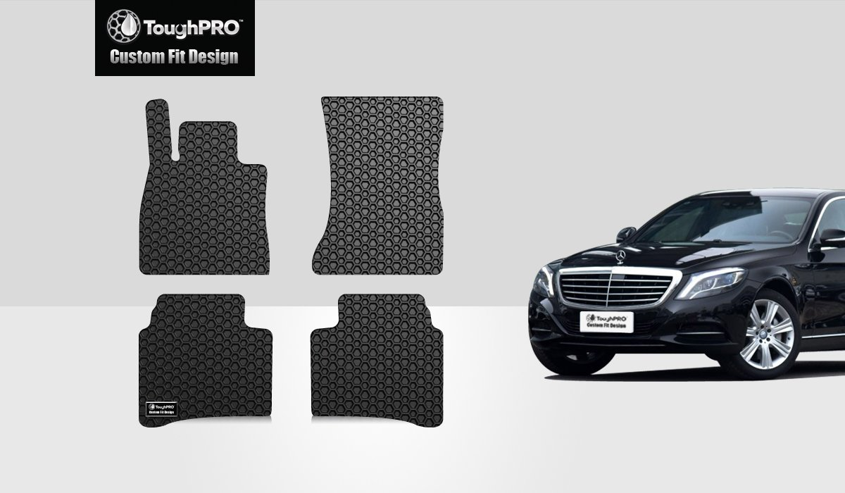 TOUGHPRO Floor Mat Accessories Set (Front Row + 2nd Row) Compatible with Mercedes-Benz S450 S550 - All Weather - Heavy Duty - (Made in USA) - Black Rubber - 2014, 2015, 2016, 2017, 2018, 2019, 2020