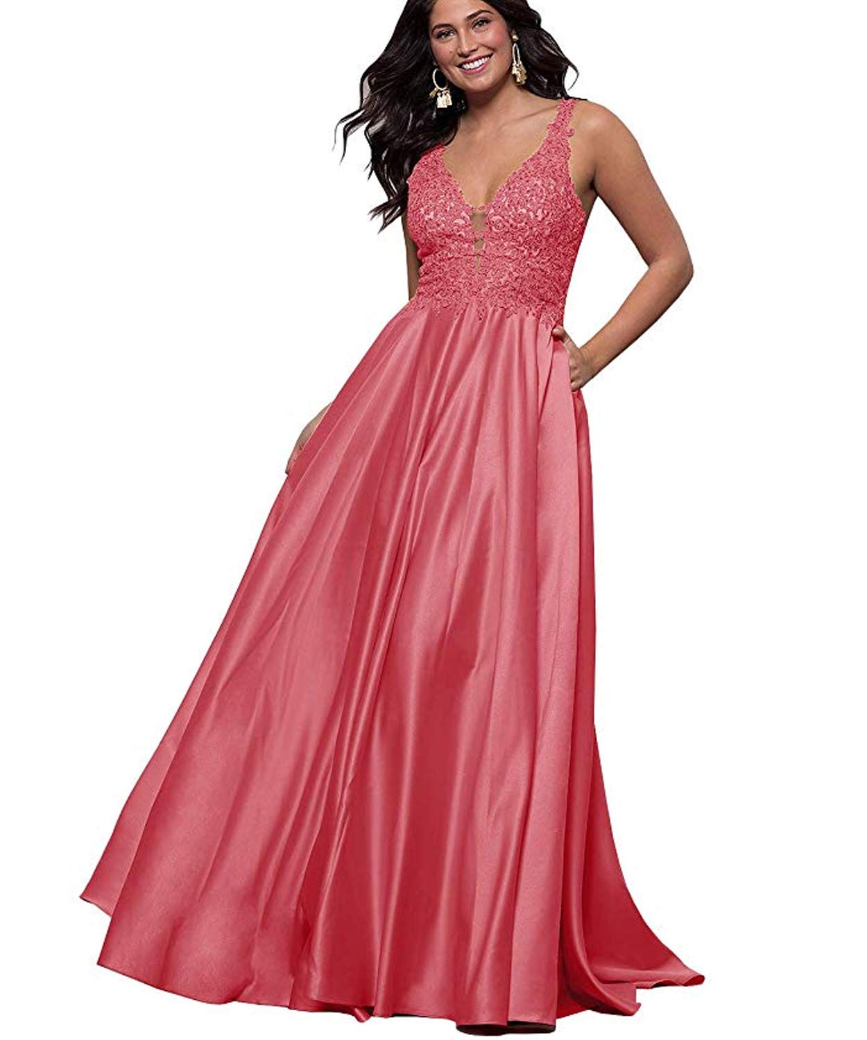 Lace Long Formal Evening Gown Applique V Neck Prom Dresses with Pockets for Women HD29