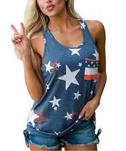4th of July Women's American Flag Camo Tank Tops Sleeveless Stripes Patriotic T Shirts