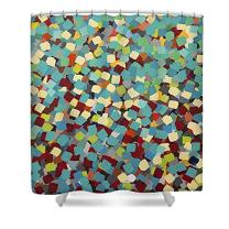 """ChadMade Contemporary Abstract Mosaic Oil Painting Style Fabric Waterproof Bathroom Shower Curtain 72"""" W x 72"""" L with 12 Plastic Hooks"""