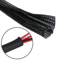 25 Feet - 1/2 inch Cord Protector Split Wire Loom Braided Cable Sleeve, Management and Organizer, Protectors for Television, Audio, Computer Cables, Prevent Pet From Chewing Cords - Black