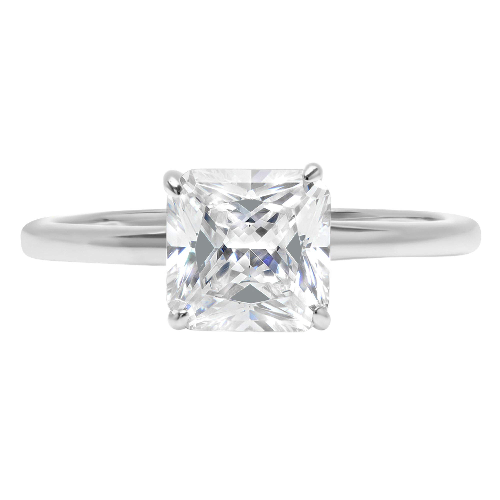 1.9ct Brilliant Asscher Cut Solitaire Highest Quality Lab Created White Sapphire Ideal VVS1 D 4-Prong Engagement Wedding Bridal Promise Anniversary Ring Solid Real 14k White Gold for Women