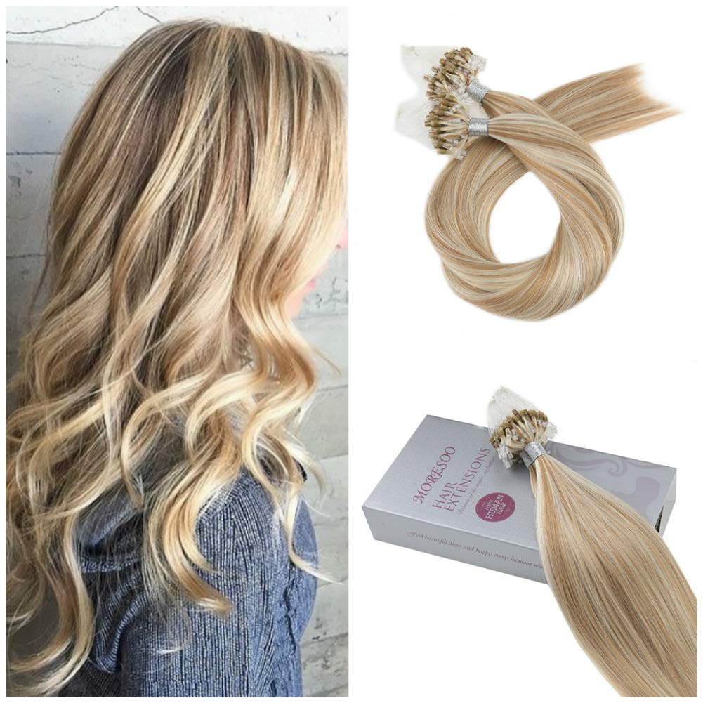 Moresoo 24 Inch Micro Loop Ring Human Hair Extensions Honey Blonde Mixed with Bleach Blonde Unprocessed Remy Human Hair Extension Micro Ring Loop Remy Human Hair Extensions 50s/50g Per Pack