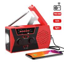MOOSENG Emergency Solar Hand Crank Radio, Portable AM/FM NOAA Weather Radio for Outdoor and Household Emergency Device, LED Flashlight, Reading Lamp, 2000mAh Power Bank USB Charger, Red