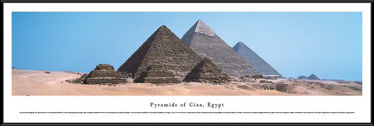 Pyramids of Giza, Egypt - Blakeway Panoramas Print with Standard Frame