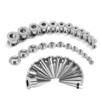 TBOSEN 36PCS Ear Gauge Stretching Kit Scrub Pulley Stainless Steel Tapers 2 In 1 Plugs Set Eyelet 14G-00G