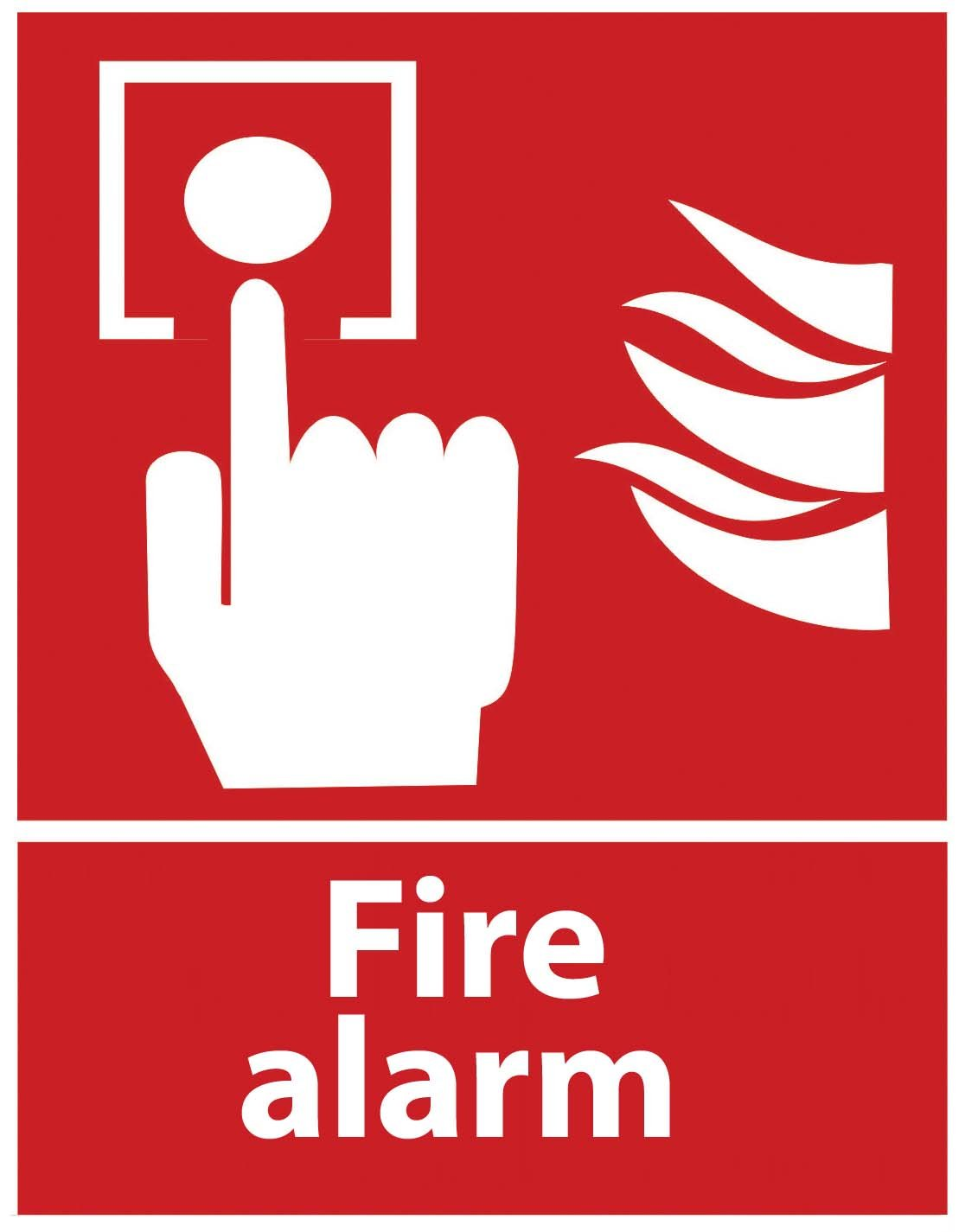 """ZING 1904S Zing Safety Sign, Fire Alarm with Picto, 10"""" Height x 7"""" Width, Recycled Polystyrene Self Adhesive,White on Red"""