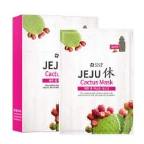 SNP - Jeju Rest Cactus Korean Face Sheet Mask - Nourishing & Moisturizing Effects for All Sensitive Skin Types - 10 Sheets - Best Gift Idea for Mom, Girlfriend, Wife, Her, Women