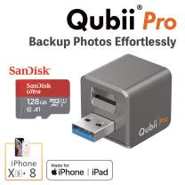 Qubii Pro Photo Storage Device for iPhone & iPad, Auto Backup Photos & Videos, Photo Stick for iPhone, Flash Drive for iPhone Photos【128GB - Space Gray】
