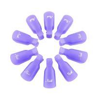 Gospire 10 Pcs Plastic Nail Clip Nail Art Gel Polish Remover Soak Off Cleaner Cap Clip (purple)