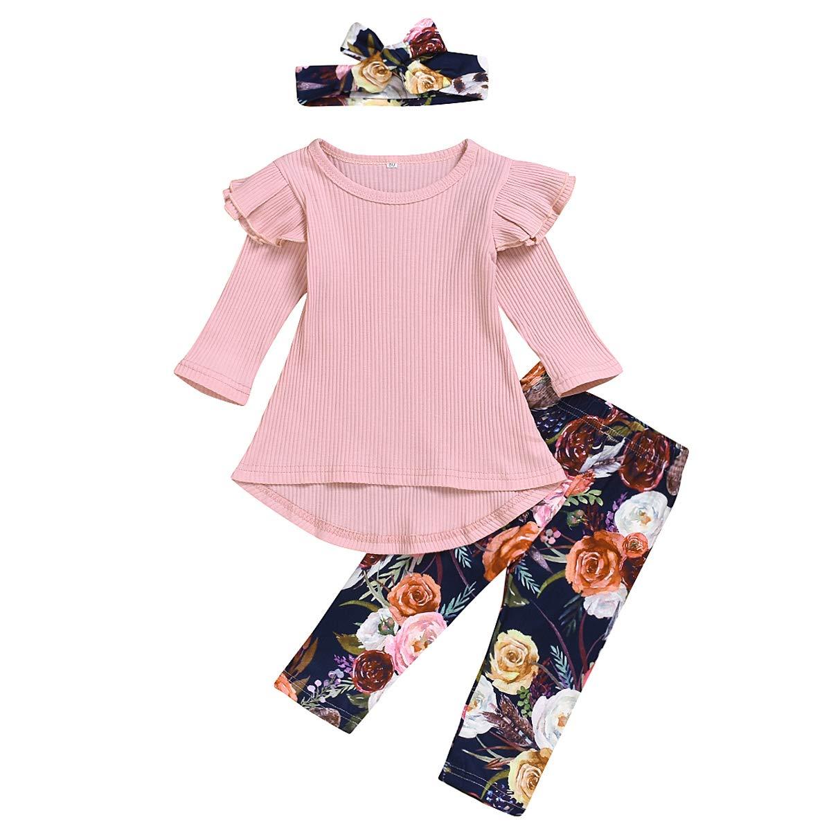 Baby Girls Floral Pants Set Infant Girl Ruffles Long Sleeve Shirts + Floral Pants + Hat + Bowknot Headband Outfits