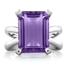 Gem Stone King Purple Amethyst 925 Sterling Silver Women's X Ring (7.10 Ct Emerald Cut 14X10MM Available 5,6,7,8,9)
