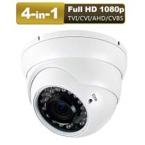 1080P 4-in-1 CCTV HD Security Dome Camera,(TVI/AHD/CVI/CVBS) 2.8-12mm Lens Varifocal Wide Viewing Angle Analog Security Camera, Weatherproof Indoor/Outdoor Camera Day & Night Vision Waterproof