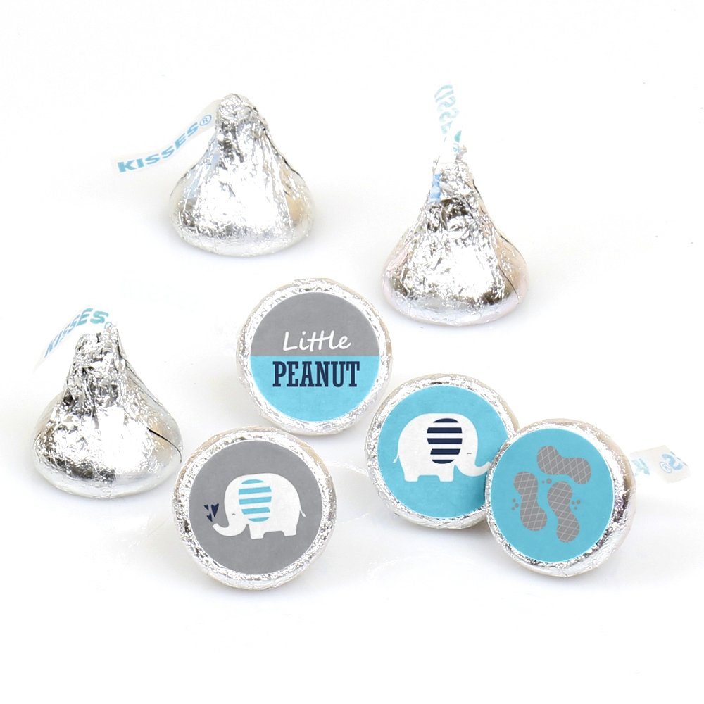 Blue Elephant - Boy Baby Shower or Birthday Party Round Candy Sticker Favors - Labels Fit Hershey's Kisses (1 Sheet of 108)