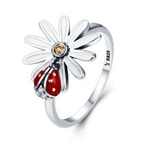 BAMOER 925 Silver Women Rings Insect Love Sunflowers Ring for Women Teen Girls Rings Birthday Gifts