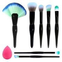 BAIMEI Makeup Brushes with a Makeup Sponge, Premium Synthetic Foundation Powder Brushes Face Makeup Brushes 7 Pcs Makeup Brush Set