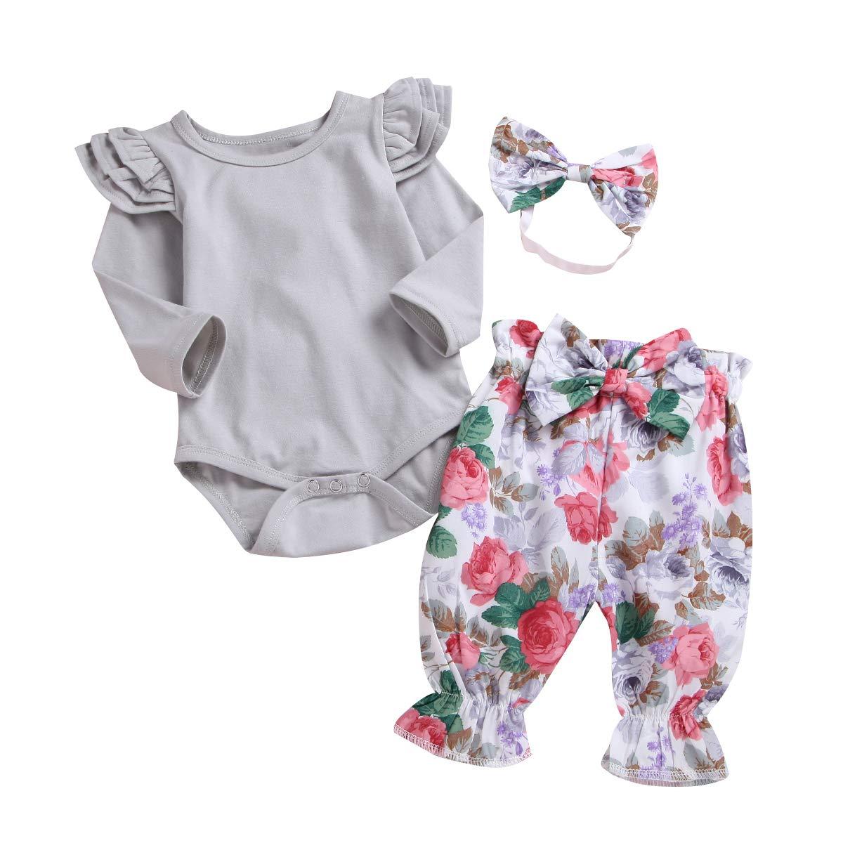 Newborn Baby Girls Clothes Cotton Bodysuit Long Sleeve Romper Floral Pants 3pcs Outfits Set
