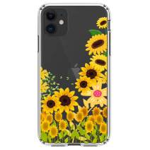 """HUIYCUU Compatible with iPhone 11 Case 6.1"""", Shockproof Anti-Slip Cute Glitter Clear Design Crystal Flower Pattern Funny Slim Fit Soft Bumper Girl Women Cover Case for iPhone 11 XI, Sunflower"""