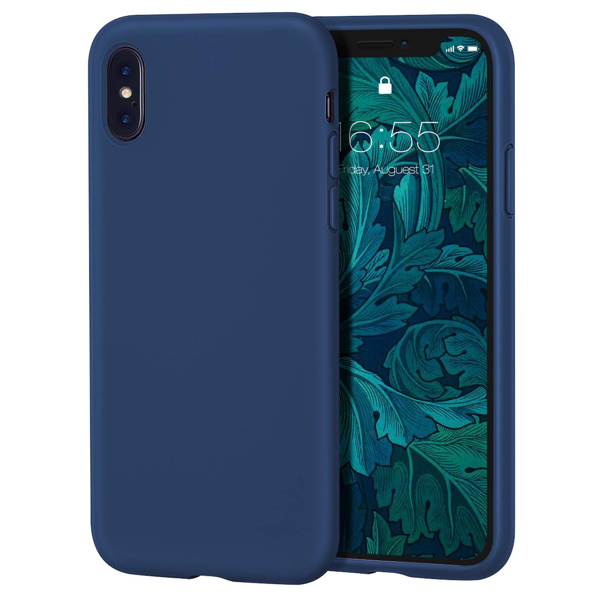 MILPROX iPhone X/Xs Silicone Series Liquid Silicone Gel Rubber Slim Fit Case with Soft Microfiber Cloth Lining Cushion for iPhone X/iPhone Xs- Blue Horizon
