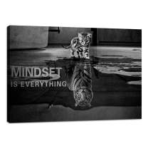 """Inspirational Wall Art Cat Mindset is Everything Entrepreneurship Positive Canvas Poster Print Artwork Painting Picture Motivational Entrepreneur Art Quotes Office Wall Decor Artwork - 12""""Hx18""""W"""