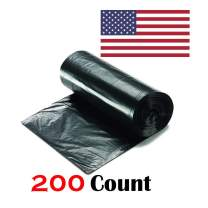 """Ox Plastics 45-50 Gallon Trash Can Liner, High Density 43""""x48"""", 200 Bags/Rolls Per Case, Easy To Use and Store, For Bathroom, Kitchen, or Office Wastebaskets (19 Microns, Black)"""
