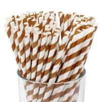 Just Artifacts 100pcs Premium Biodegradable Striped Paper Straws (Striped, Chocolate)