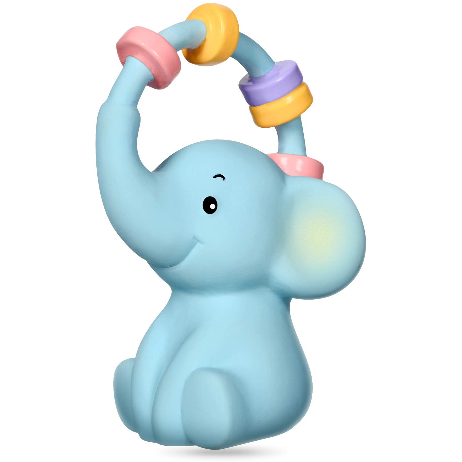 CALLMYBO Lovely Elephant Teether, Silicon Free Teething Toy 100% Natural Rubber Teether Multi-Textured Soft & Soothing Easy-Hold, Lovely Baby Teether Gift (BPA Free, Freezer & Dishwasher Safe).