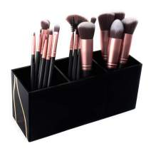 Super Z Outlet Cosmetic Makeup Black Organizer for Lipstick, Eyeliner Brushes, Lip Pencil Display Rack 3 Slot Vanity Top Holder