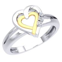 Dazzlingrock Collection 0.05 Carat (ctw) 925 Round Cut Diamond Ladies Split Shank Double Heart Promise Ring, Sterling Silver