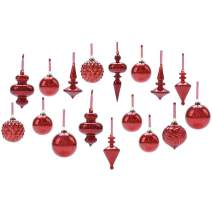 youseexmas Mouth Blown Glass Christmas Ornaments Pack of 17 Big Size (red)