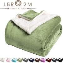 LBRO2M Sherpa Fleece Bed Blanket Queen Size Super Soft Fuzzy Plush Warm Cozy Fluffy Microfiber Couch Throw Velvet Double Reversible Luxurious Blankets (Sage Green, Queen(90x90 Inches))