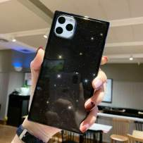iPhone 11 Pro Max Transparent Case,Tzomsze Square iPhone 11 Pro Max Glitter Phone Case Reinforced Corners TPU Cushion,Crystal Slim Cover Shock Absorption TPU Shell-Black