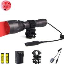 BESTSUN Red LED Flashlight Predator Light 350 Yards Red Light Coyote Varmints Hunting Tactical Flashlights, 1000 Lumens, Waterproof LED Torch with Pressure Switch, Picatinny Rail Rifle Barrel Mount