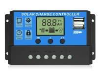 EEEKit Solar Charge Controller, Dual USB Port Solar Panel Battery Intelligent Regulator, Multi-Function Adjustable LCD Display Street Light Controller, 12V24V 20A