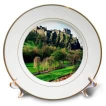 "3dRose cp_54126_1 Castle in Edinburgh Scotland-Porcelain Plate, 8"""