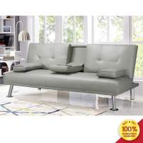 Recaceik Convertible Bed Futon Sofa Bed Twin Size Sleeper Couch Recliner Lounge Modern Faux Leather Small Sofa with Armrest & Fold Up & Down for Living Room Bedroom, Gray