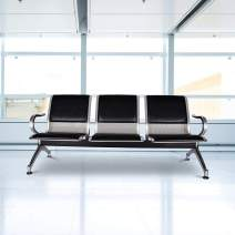kinsuite Waiting Room Reception Chair with Arms 3-Seat Bench PU Leather for Airport Office Bank Hospital Seat