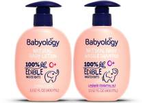 Babyology - 100% Edible Ingredients - All Natural Baby Wash and Shampoo Lavender + Organic Baby Lotion SET - 13,5 FL OZ Good for Sensitive Skin or Eczema - Non Toxic - Fragrance Free (Set of 2)