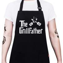 """ALIPOBO BBQ Apron Funny Grill Aprons for Men Dad - The Grillfather - Men's Grilling Apron with 2 Pockets, Adjustable Neck Strap and 40"""" Long Ties - Black"""
