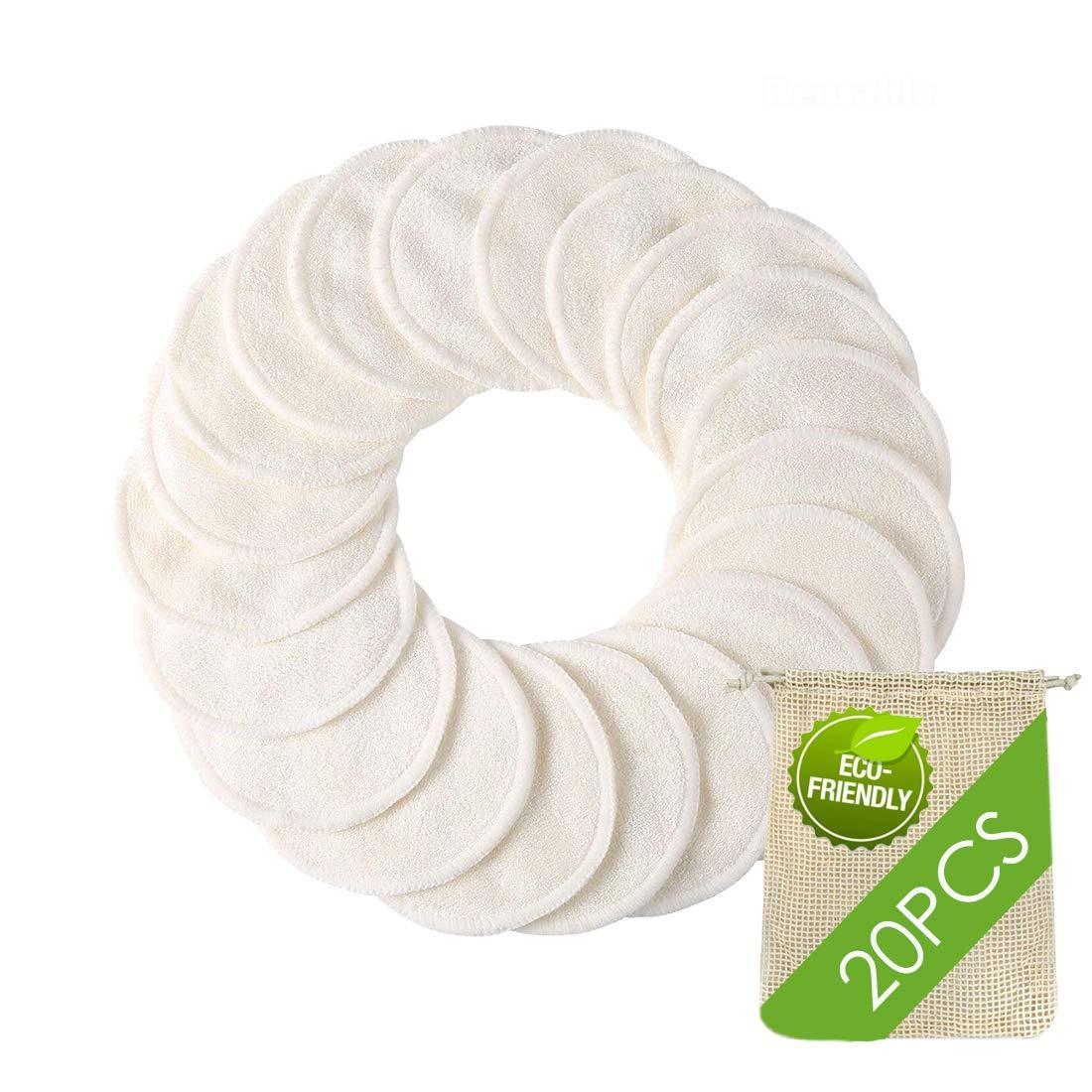 Reusable Makeup Remover Pads - 20 PCS Organic Bamboo Reusable Cotton Rounds with Laundry Bag, Washable Facial & Eye Makeup Cotton Pads