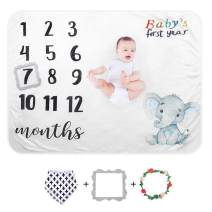 SUNVITO Baby Monthly Milestone Blanket | Plush Organic Baby Photo Blanket for Baby Boy Girl | 1 to 12 Months | Large 47Inch x 39Inch | Baby Month Blanket for Newborn Baby Shower