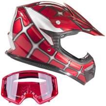 Typhoon Youth Off Road Helmet & Goggles DOT Motocross ATV Dirt Bike Motorcycle Red Spiderman, Medium
