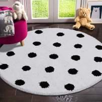 LIVEBOX Polka Dots Round Area Rugs, 3ft Diameter Kids Play Mat Soft Plush Baby Crawling Mat Non-Slip Throw Carpetfor Teen Girl Living Room Bedroom Playroom Nursery Decor Best Shower Gift(White)