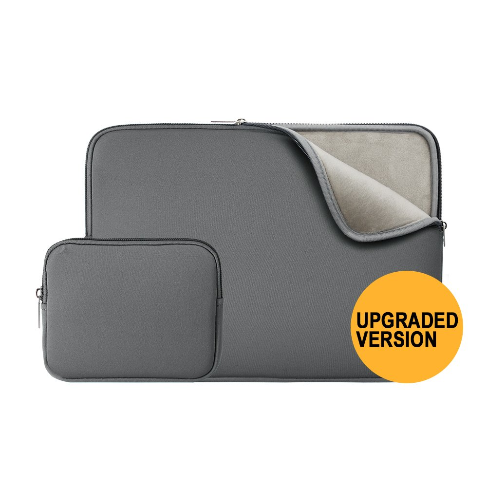 """RAINYEAR 14 Inch Laptop Sleeve Protective Case Soft Fluffy Lining Padded Zipper Cover Carrying Bag with Accessories Pouch,Compatible with 14"""" Notebook Computer Chromebook(Gray,Upgraded Version)"""