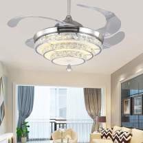"""TFCFL 42"""" Crystal Ceiling Fan with Lights, Modern Retractable 4-Blade Invisible Chandelier with Remote 3-Color Changes LED for Dining Room, Bedroom, Living Room Home Decor (Silver)"""