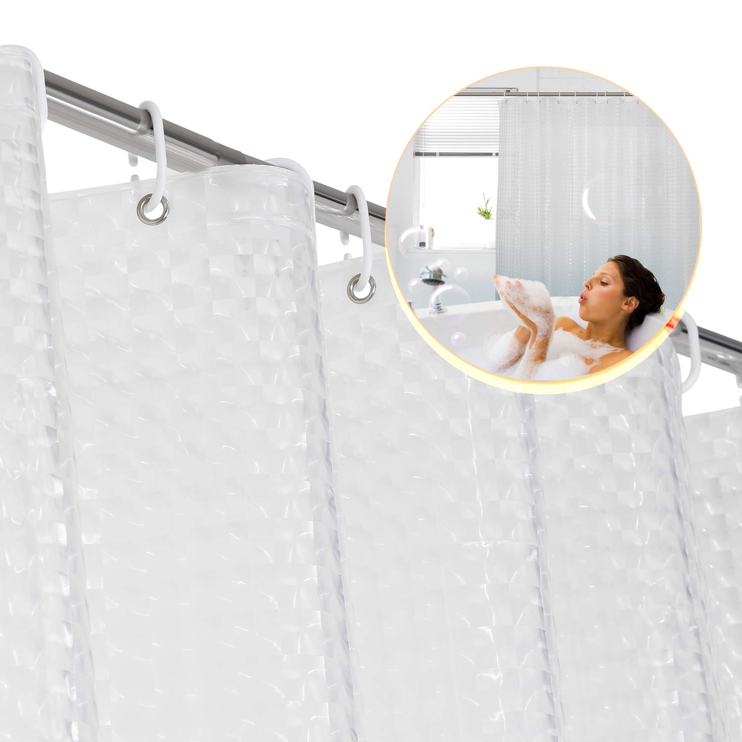 FITNATE Eco-Friendly PEVA Shower Curtain Liner, 72x72 3D,0.15 MM - Non Toxic, , No Chemical Odor, Rust Proof Grommets with Plastic Curtain Hook (3D Crystal Pattern Clear)