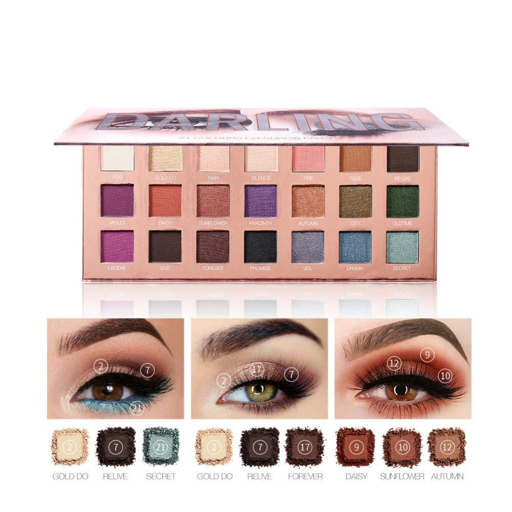 Darling 21 Colors Eyeshadow Palette, 7 Matte + 14 Shimmer Blendable Long Lasting Eye Shadow Palette Highly Pigmented Waterproof Eye Shadows Powder with Mirror 2019 New by ROMANTIC BEAR