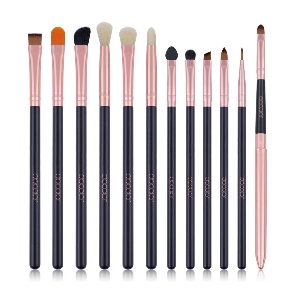 Docolor Eye Makeup Brush Set Professional Eye Makeup Brushes Eyeshadow Concealer Blending Eyebrow Eyeliner Lip Cosmetics Brush Tool (12 Pcs,Black with Rose Gold)