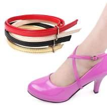 Ewanda store 5 Pairs Women's Long Detachable Suede Shoe Strap,Boat Shoe Anti Slip Shoe Straps High Heels Shoelace Accessories with Buckle(Mirror Black)